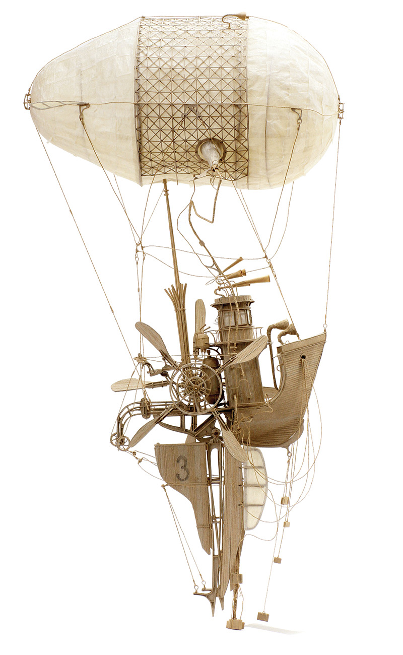 Imaginative Industrial Flying Machines Made From Cardboard by Daniel Agdag | Colossal