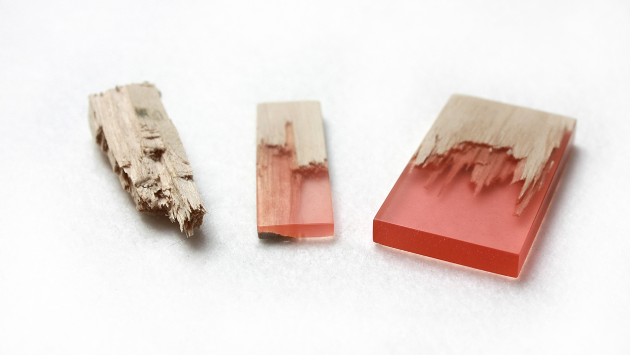 Designer Marcel Dunger Creates Jewelry by Fusing Colorful Bio Resin to Pieces of Broken Maple Wood wood resin jewelry fashion