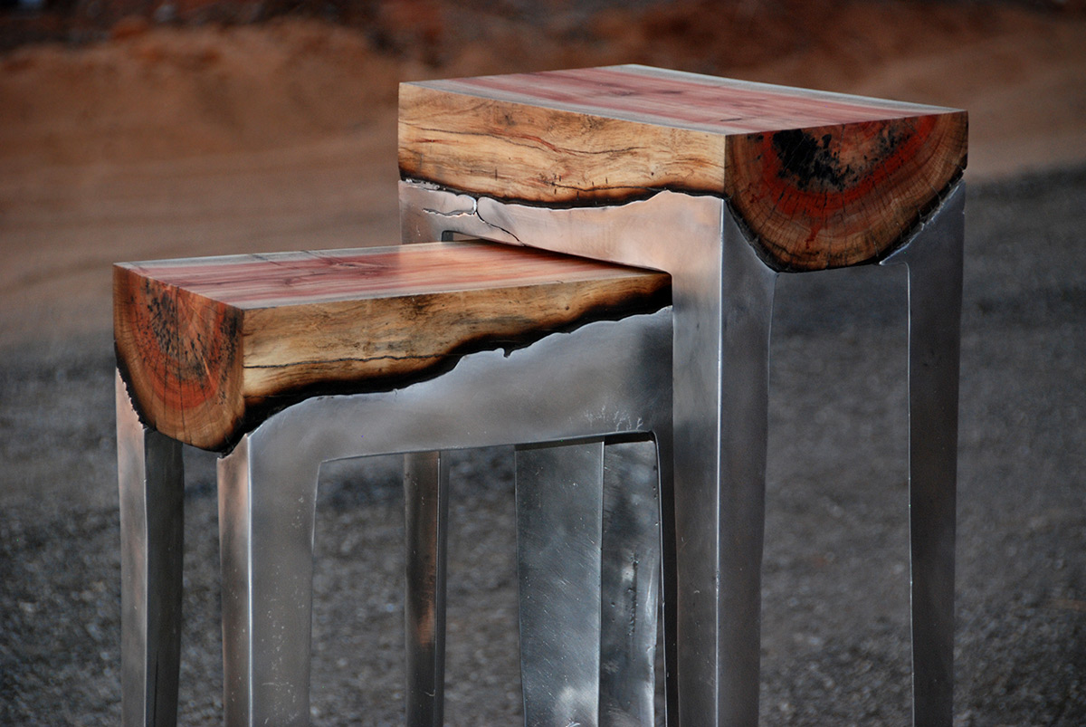 Designer Hilla Shamia Fuses Cast Aluminum and Tree Trunks to Create One of a Kind Furniture Pieces wood furniture aluminum