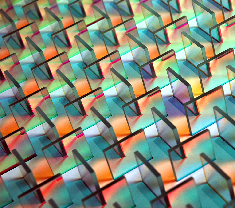 Geometric Dichroic Glass Installations by Chris Wood sculpture reflection light installation glass geometric