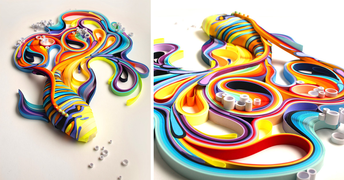 Vibrant Quilled Paper Illustrations And Sculptures By