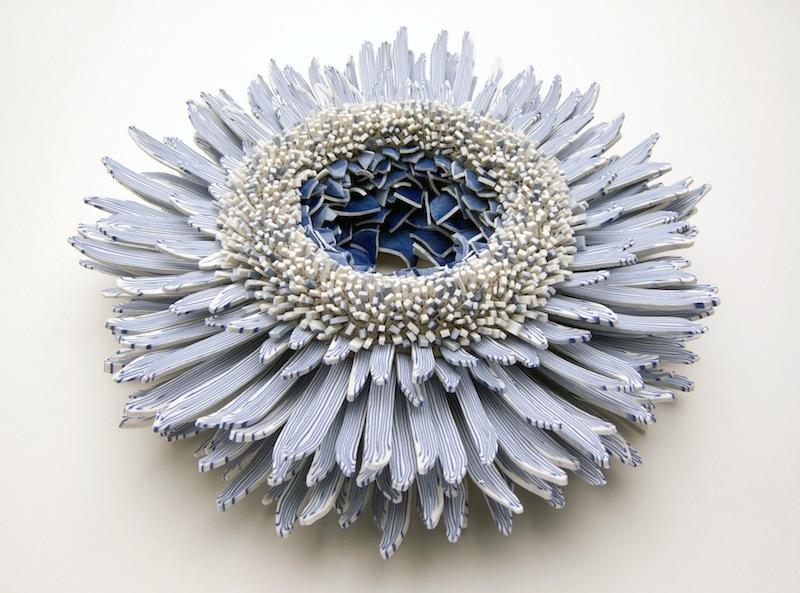 Blue & White porcelain shards flower_2