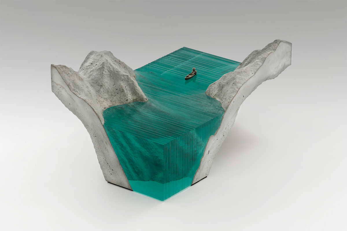 New Layered Glass Wave Sculptures by Ben Young sculpture ocean glass
