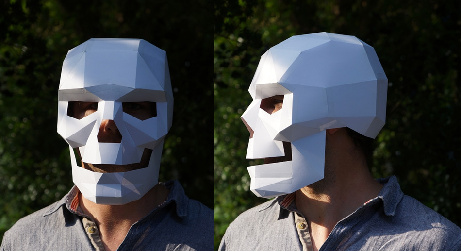 DIY Geometric Paper Masks by Steve Wintercroft paper masks Halloween geometric