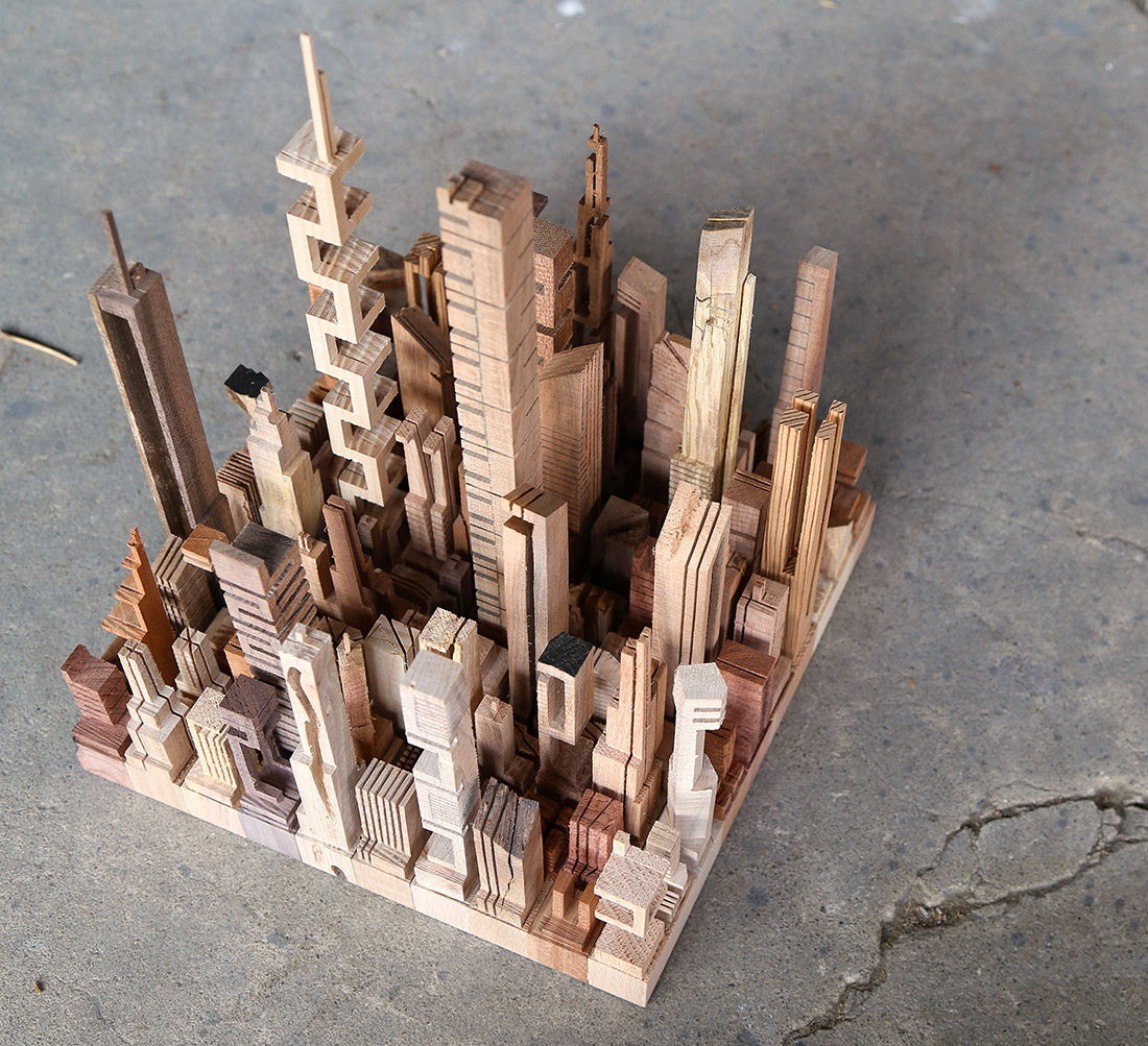 New Wooden Cityscapes Sculpted with a Bandsaw by James McNabb wood sculpture architecture