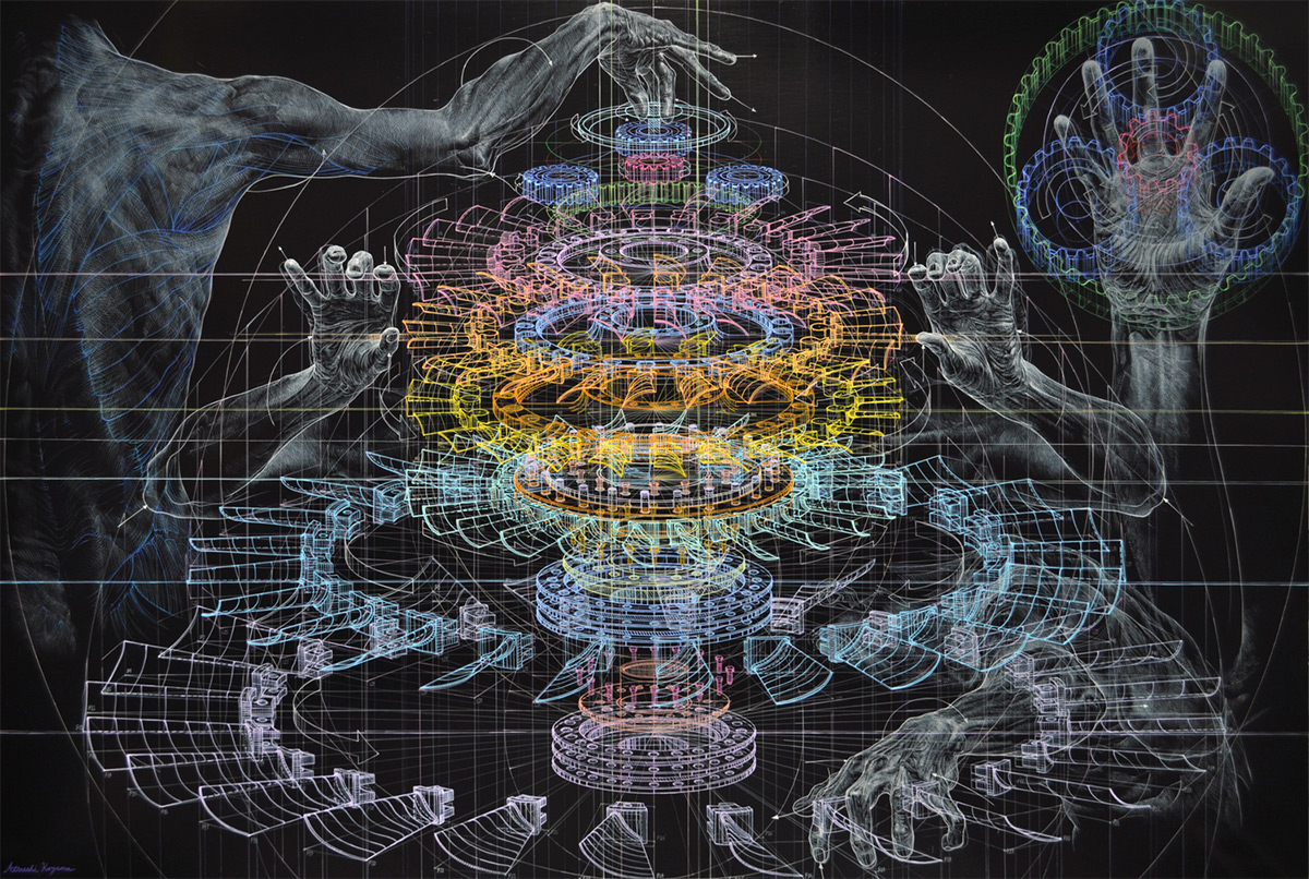 Mechanical Drawings and the Human Form Merge in Oil Paintings by Atsushi Koyama painting infographics anatomy