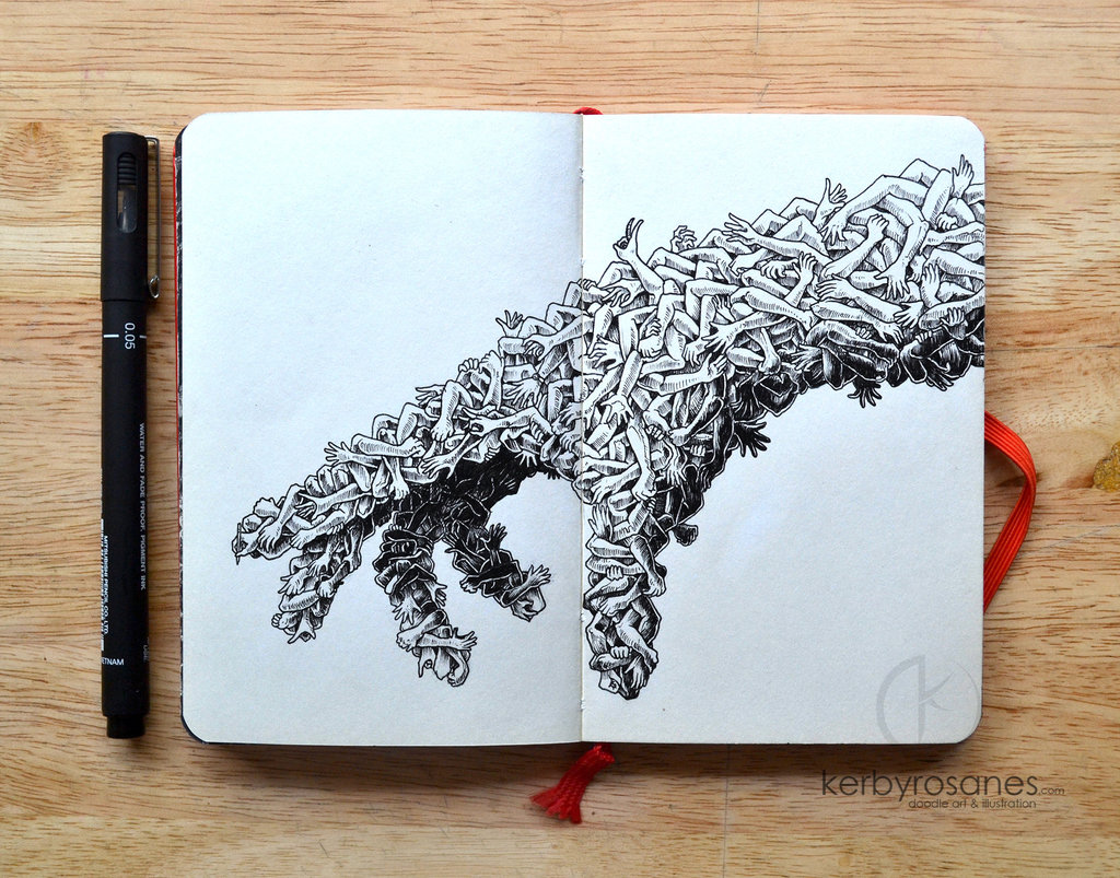Explosive Moleskine Doodles by Kerby Rosanes multiples animals