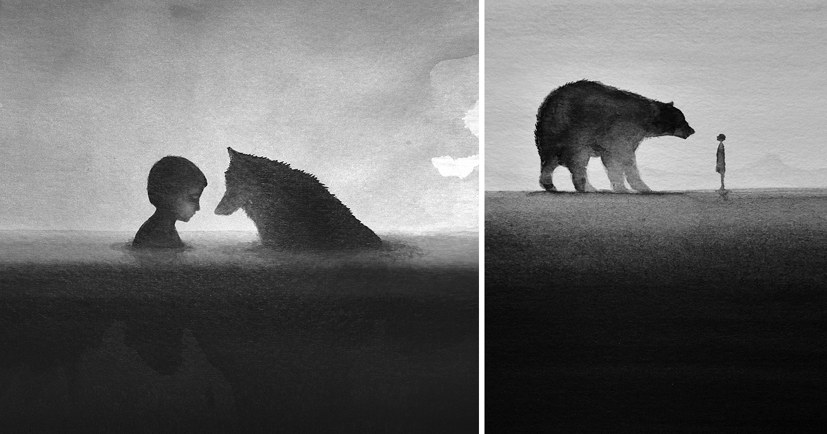 Dreamy Black And White Watercolors By Artist Elicia