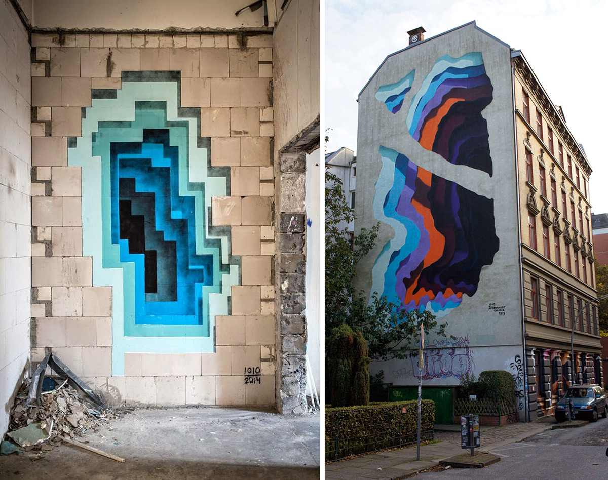 New Murals by '1010' Expose Hidden Portals of Color in Walls and Buildings | Colossal
