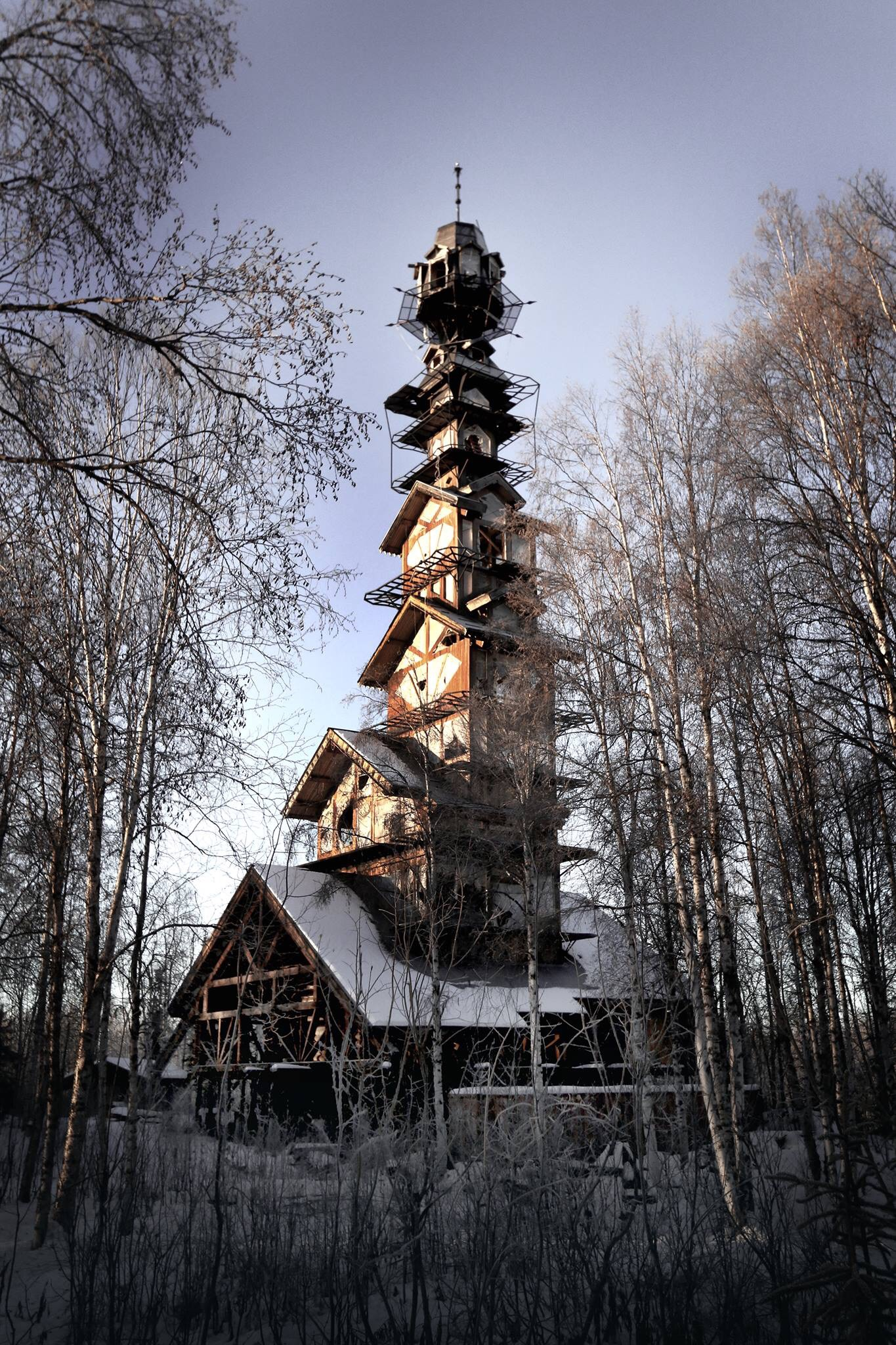a towering home in the alaskan wilderness looks like. Black Bedroom Furniture Sets. Home Design Ideas
