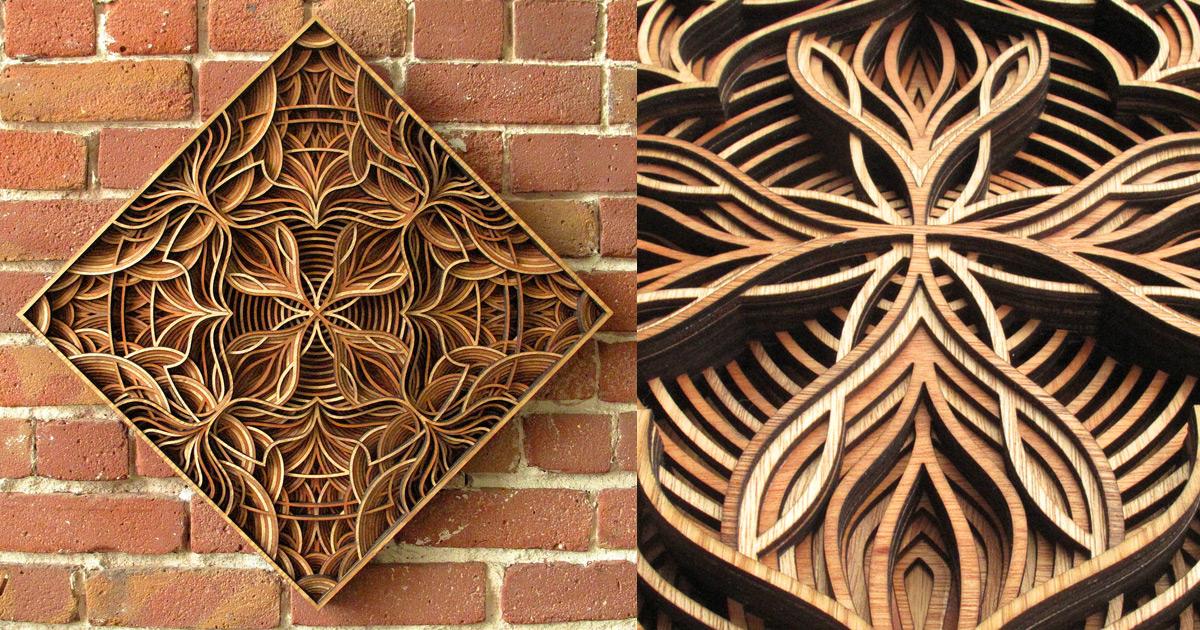 Geometric laser cut wood relief sculptures by gabriel