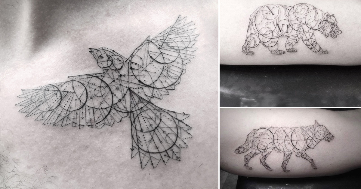 The Line Artist : Elegant fine line geometric tattoos by dr woo colossal