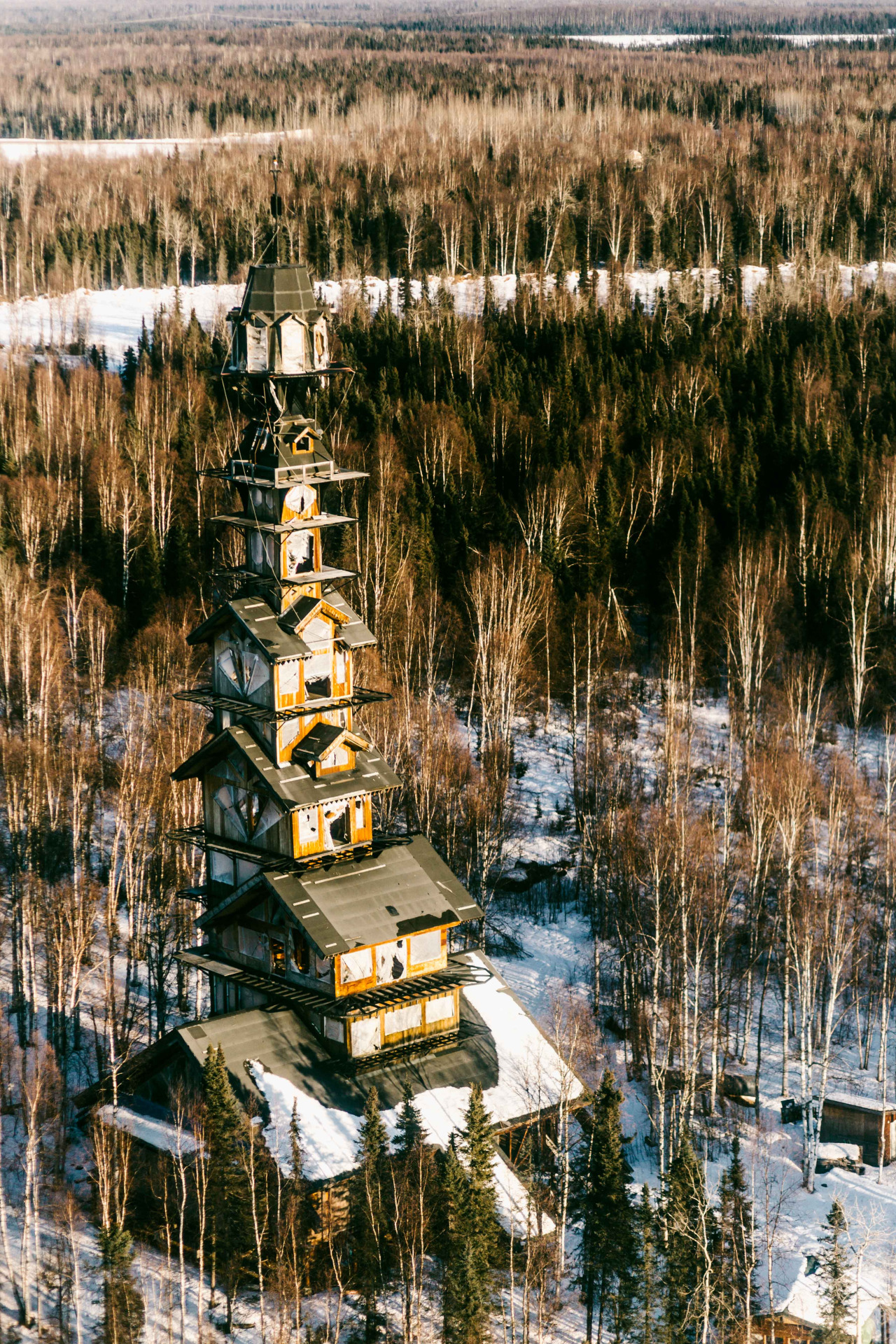 A towering home in the alaskan wilderness looks like for The willow house