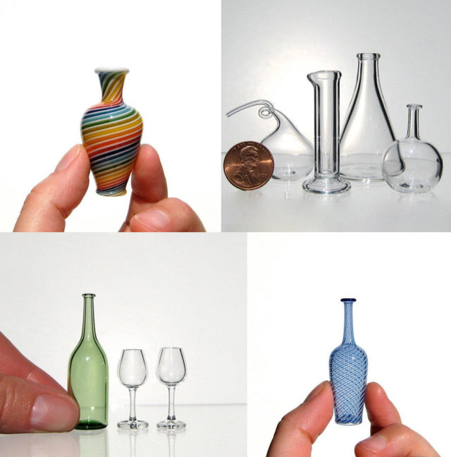 Miniature Hand Blown Glass Vessels and Scientific Instruments by Kiva Ford