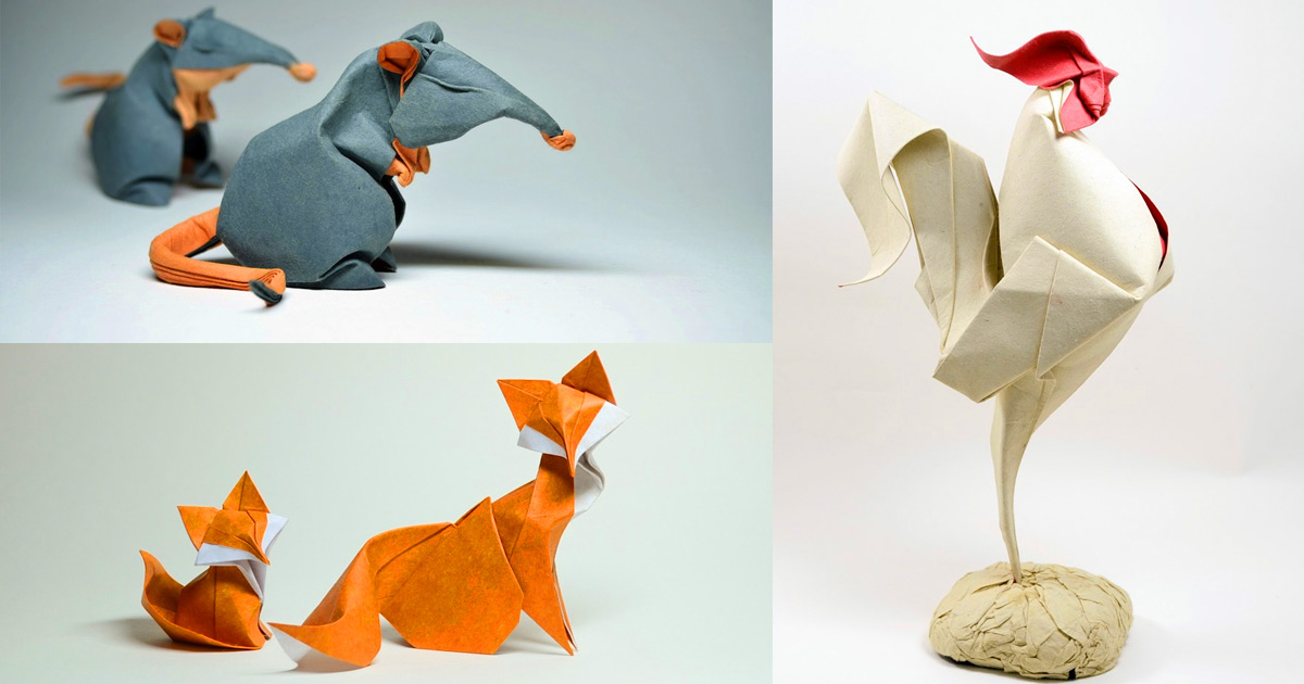 Wet Fold Origami Technique Gives Wavy Personality To Paper Animals