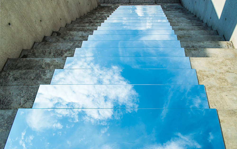 Mirror Installations By Shirin Abedinirad Reflect The Sky In Stairs