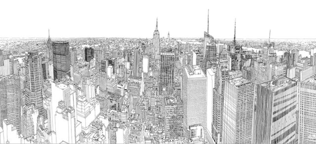 A Timelapse of Illustrator Patrick Vale Drawing a Huge Pen & Ink View of the New York Skyline