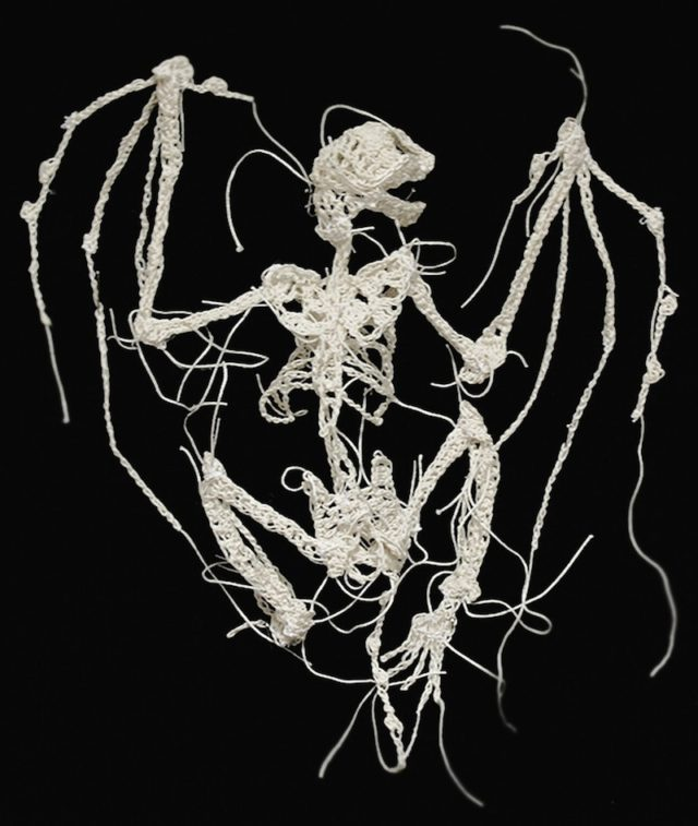 Decaying Animal Skeletons Crocheted From String by Artist Caitlin McCormack