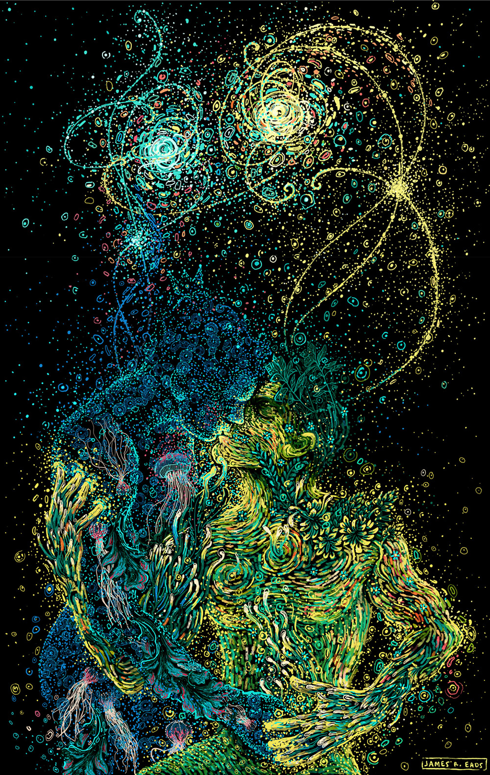 Swirling Illustrations by James R. Eads Explore Human Connections and the Natural World | Colossal