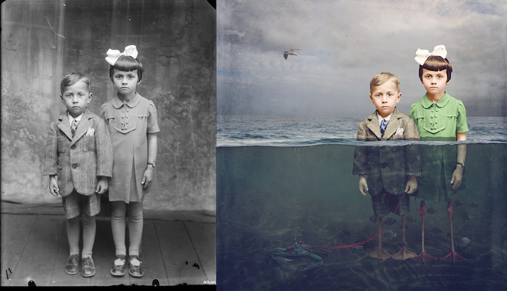 Artist Jane Long Digitally Manipulates Black and White WWI-Era Photos Into Colorful Works of Fantasy