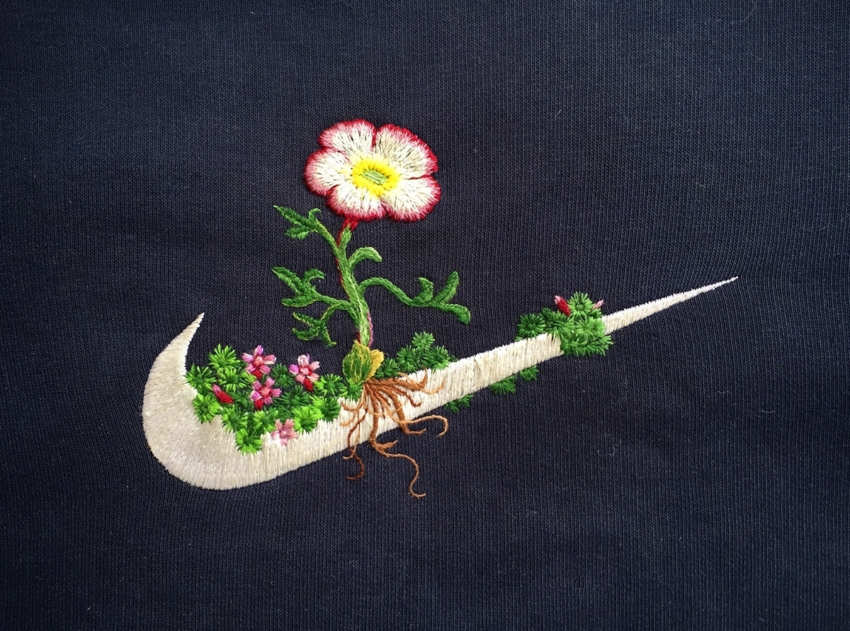 Artist James Merry Embellishes Sportswear Logos With Embroidered