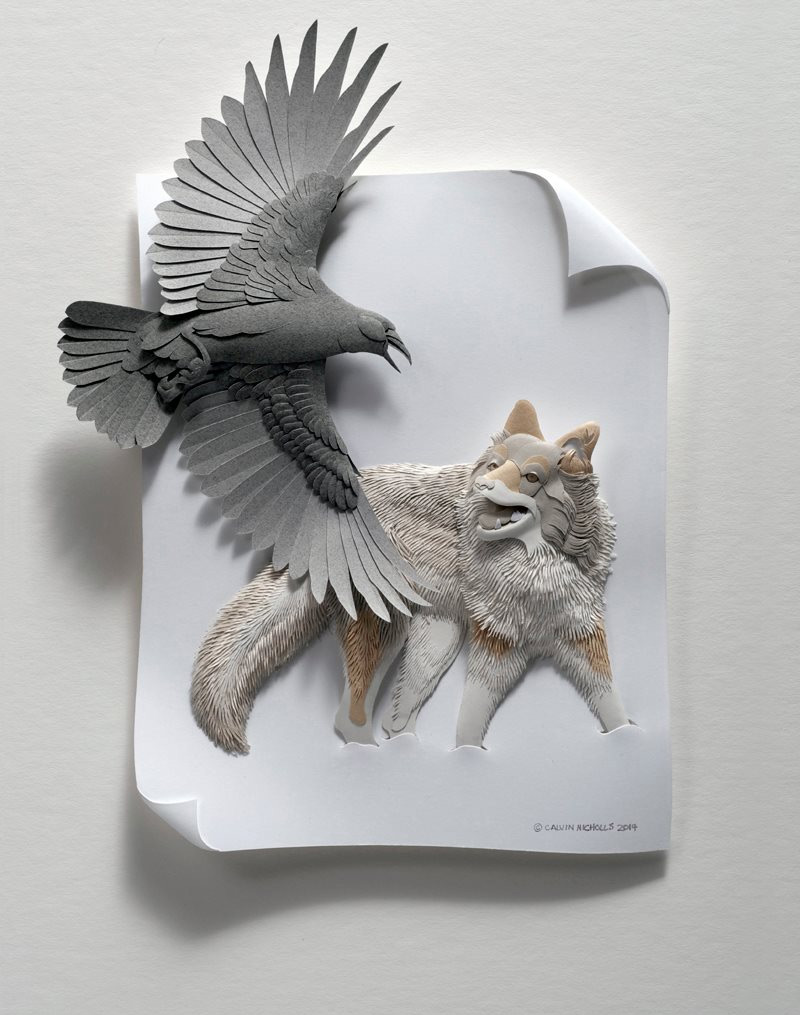 Delicate layered paper sculptures of birds and other for 3d sculpture artists