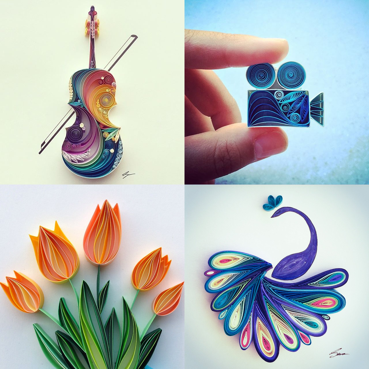 Colorful quilled paper designs by sena runa colossal for Quilling paper art