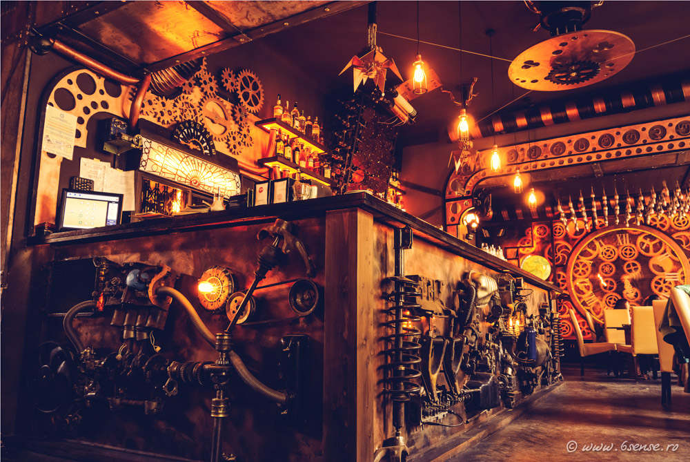 enigma a steampunk themed cafe filled with kinetic sculptures opens in romania colossal. Black Bedroom Furniture Sets. Home Design Ideas