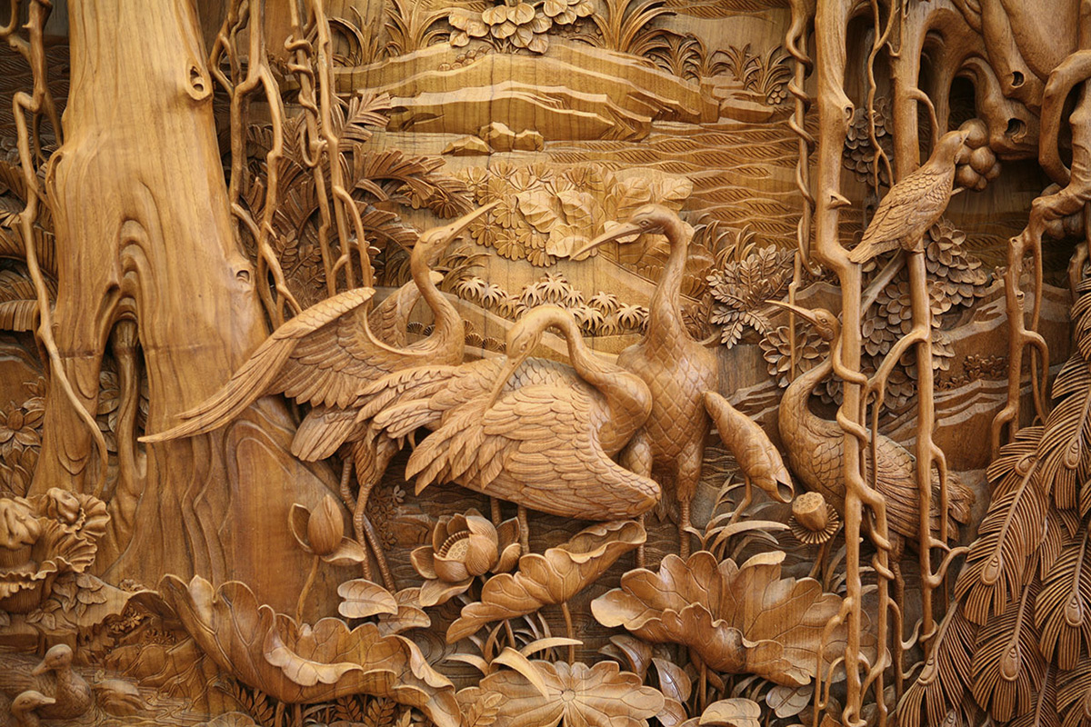 The exquisite detail of traditional chinese dongyang wood
