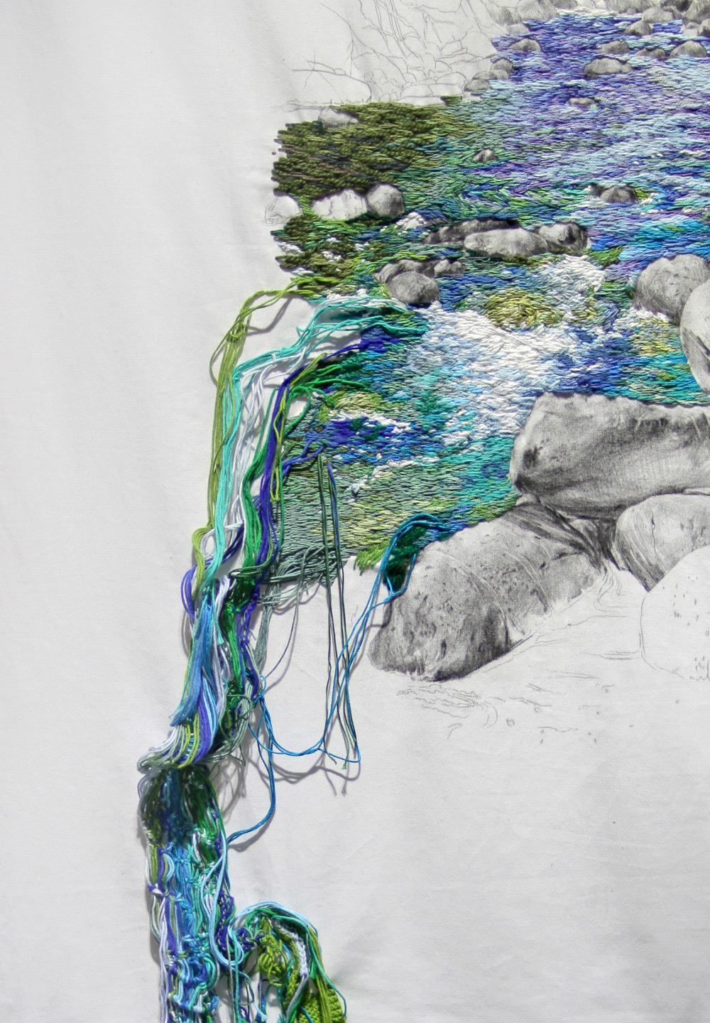 New embroidered landscapes that cascade off the wall by
