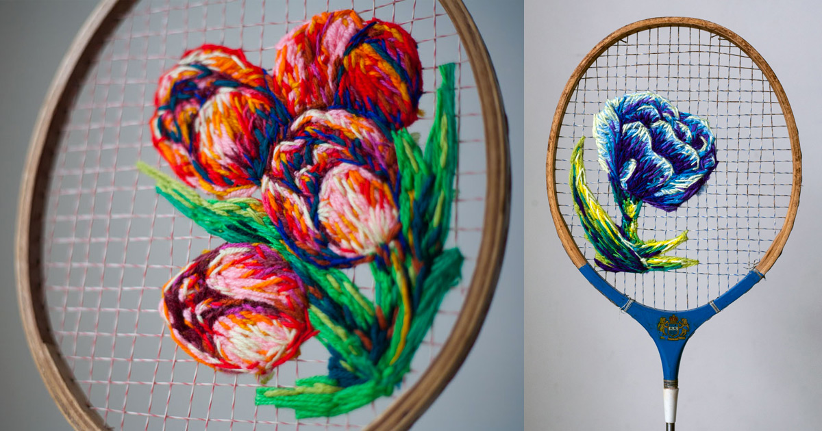 flowers embroidered on the strings of vintage rackets and