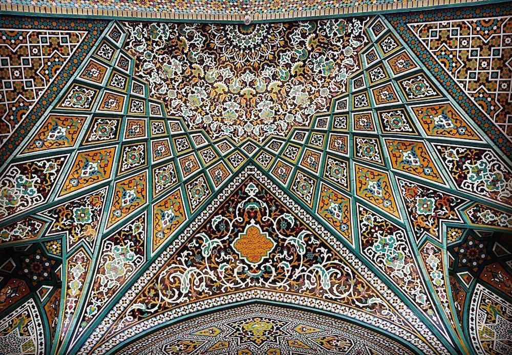 Celling of Hazrate-masomeh's mosque in Qom, Iran