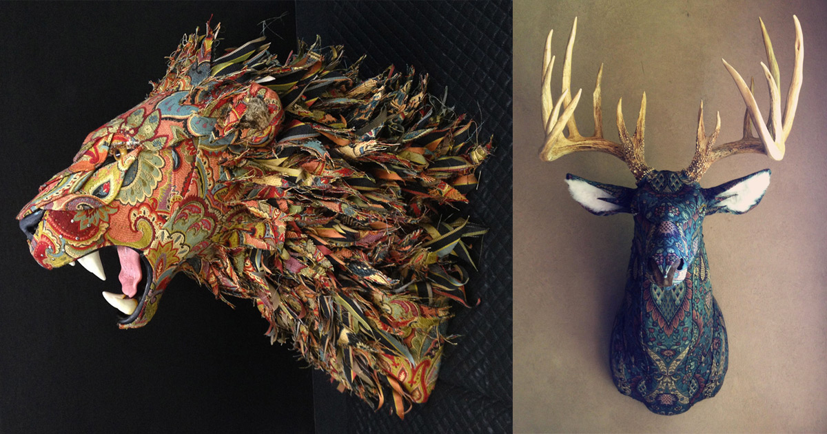 Upholstered Faux Taxidermy Heads and Animals by Kelly Rene Jelinek