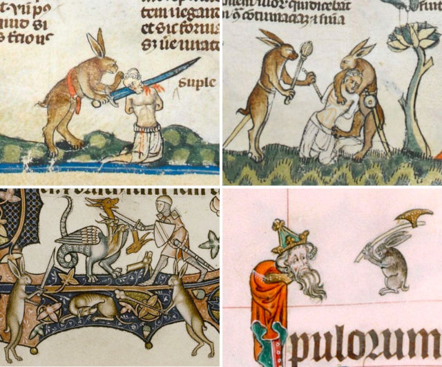 Violent Rabbit Illustrations Found in the Margins of Medieval Manuscripts