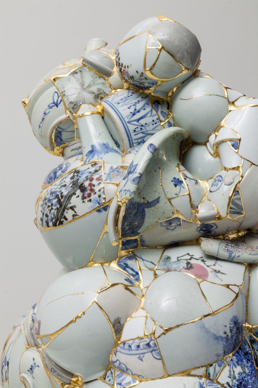 Translated Vase (TVW 6), 2013 (detail), ceramic shards, epoxy, 24k gold leaf, 27 x 26 x 27 1/2 inches