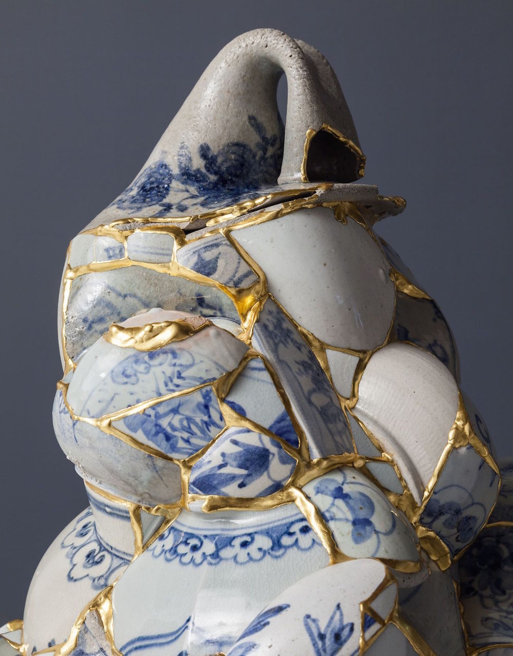 Translated Vase (TVW8), 2013 (detail), ceramic shards, epoxy, 24k gold leaf, 52 x 28 1/2 x 27 1/2 inches, Collection of the Philadelphia Museum of Art