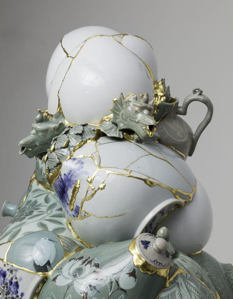 Translated Vase (TVWG1), 2013 (detail), ceramic shards, epoxy, 24k gold leaf, 61 1/2 x 36 x 27 1/2 inches