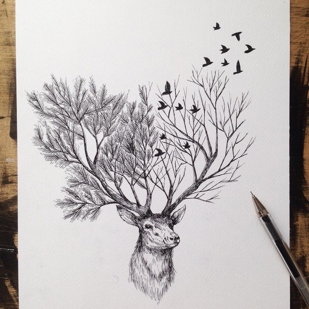 Pen & Ink Depictions of Trees Sprouting into Animals by ...