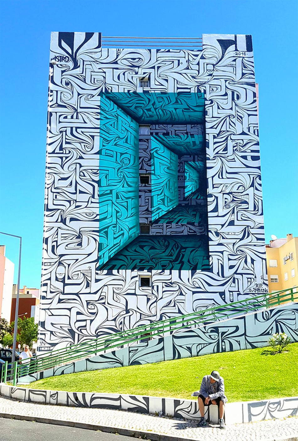 Calligraphic Optical Illusion Murals by Astro | Colossal