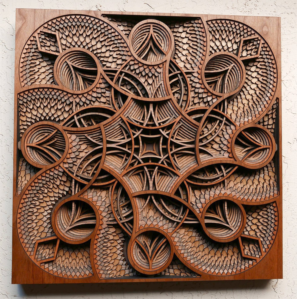 Laser cut wood relief sculptures by gabriel schama colossal