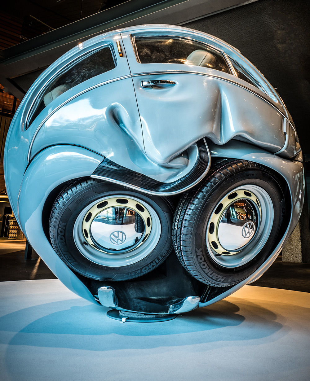vw cars compressed into perfect spheres and cubes by ichwan noorby christopher jobson on august 13 2016