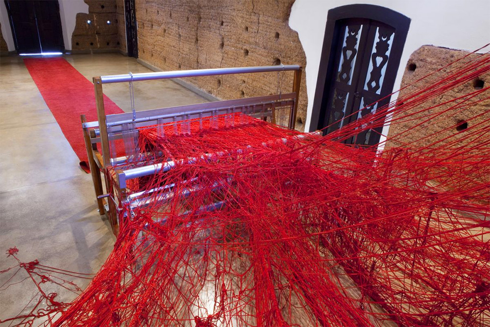 Penelope red carpet loom by Tatiana Blass