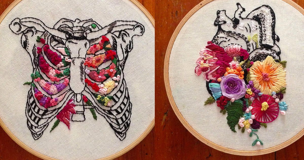 Floral Anatomy Embroideries by