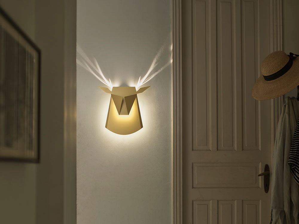 Folded aluminum lamps project feathers and antlers when illuminated light 2 aloadofball Images