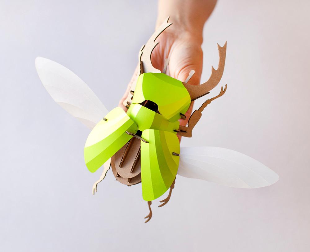 DIY Paper Beetle Sculpture Kits by Assembli | Colossal