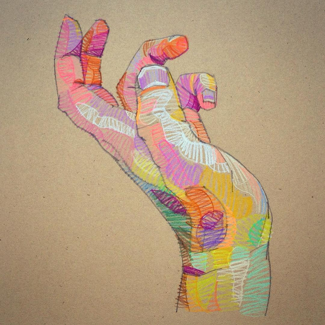 Prismatic Sketches of Hands and Faces by Lui Ferreyra | Colossal