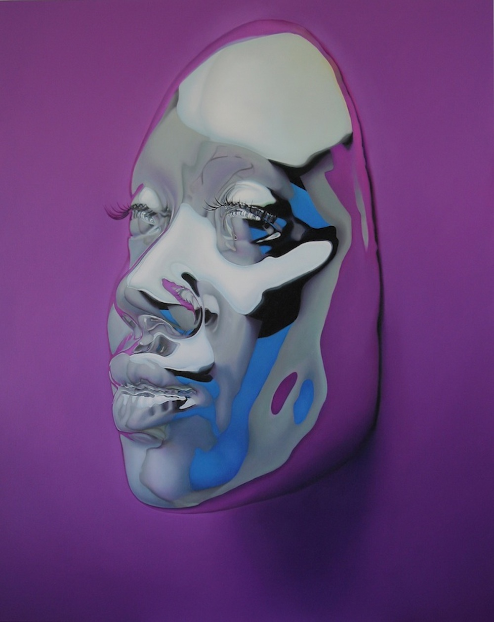 Hyperrealistic oil paintings of vivid chrome masks by kip omolade