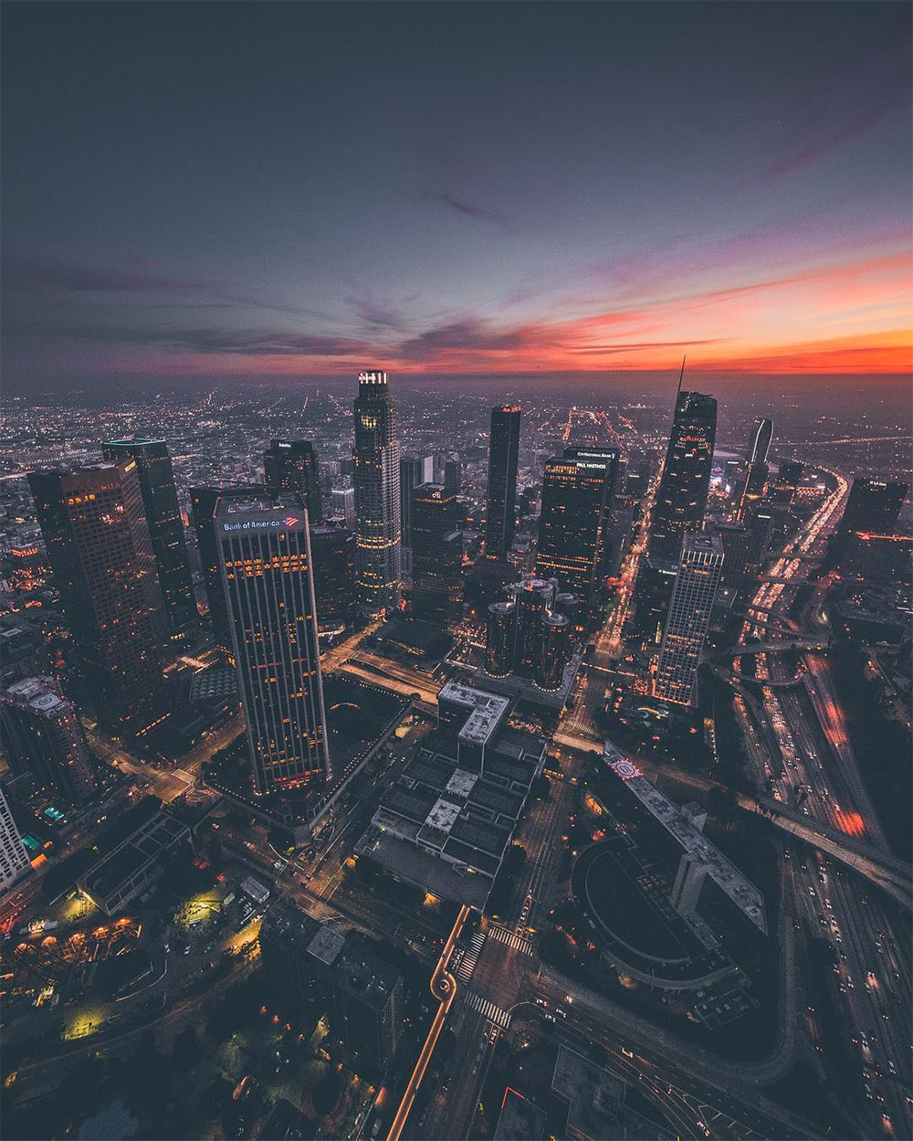sky high images of los angeles at dusk and dawn by dylan schwartz