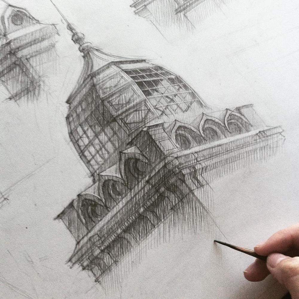 Adelina Gareeva ,Pencil drawing Architectural Sketches
