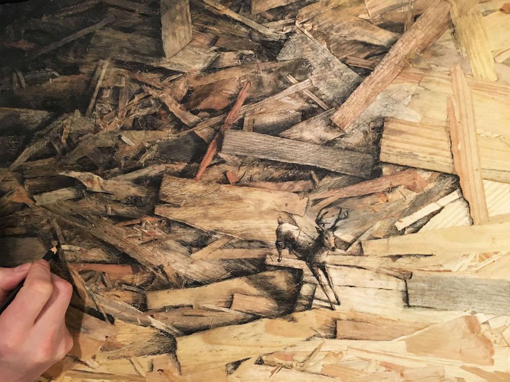 """Pejac's Newest Series """"Redemption"""" Utilizes Pressed Wood as Canvas Artes & contextos Pejac17 10"""